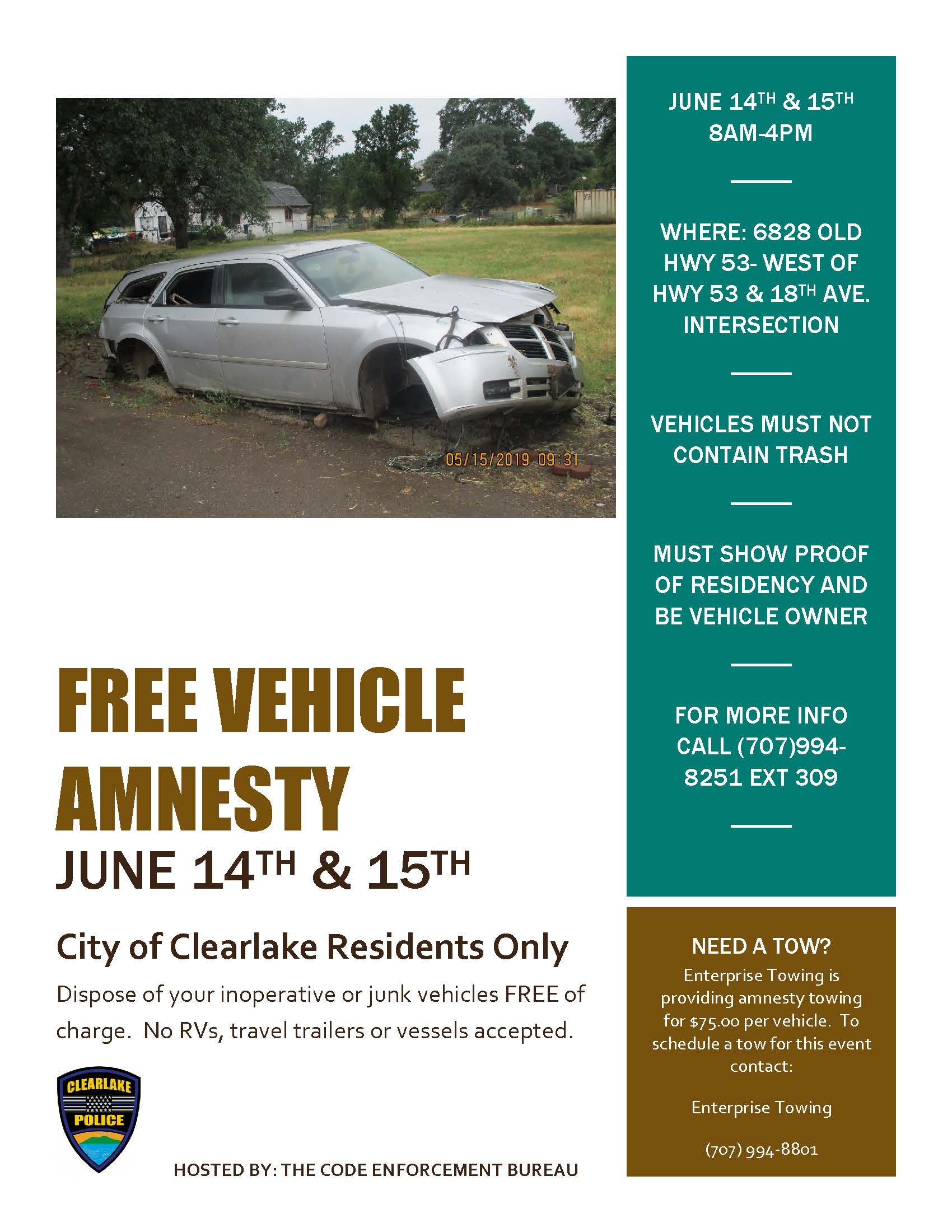 Vehicle Amnesty Flyer